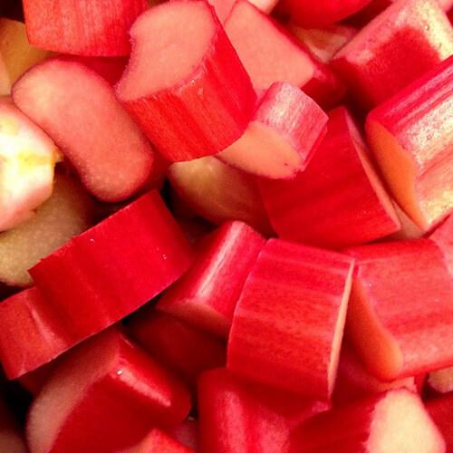 colourful rhubarb pieces