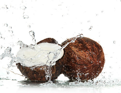 Coconut in two halves
